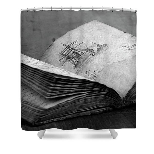 Antique Notebook Shower Curtain