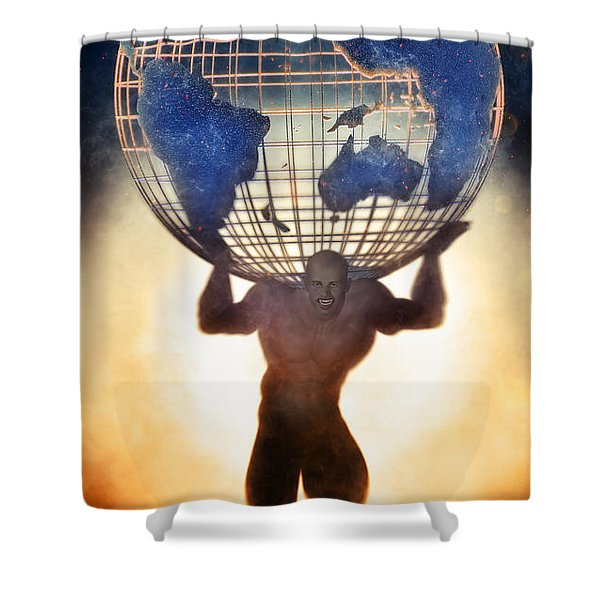 Atlas And The Luminous Universe Shower Curtain