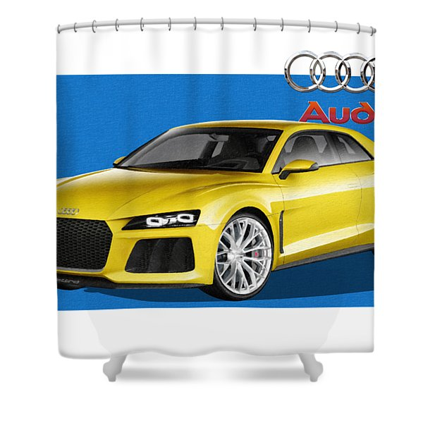 Audi Sport Quattro Concept With 3 D Badge  Shower Curtain