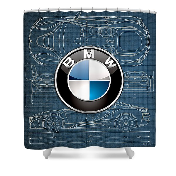 B M W 3 D Badge Over B M W I8 Blueprint  Shower Curtain
