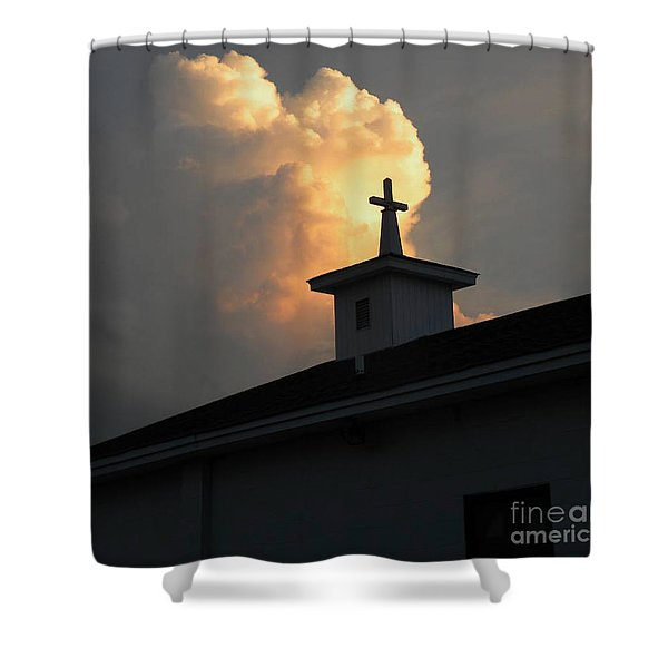 Reaching Baby Angel At The Cross Shower Curtain
