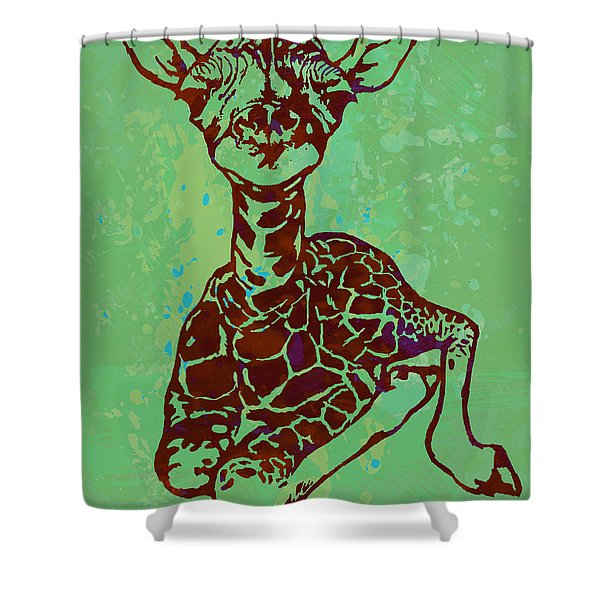 Baby Giraffe - Pop Modern Etching Art Poster Shower Curtain