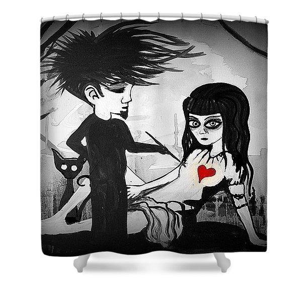 Badheart  Shower Curtain