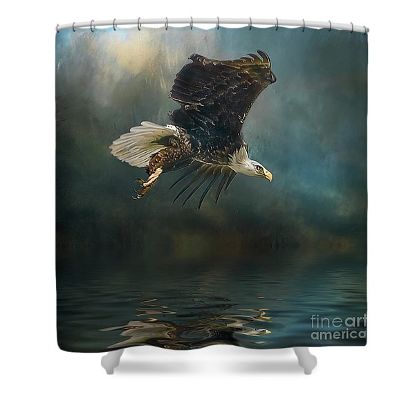 Bald Eagle Swooping Shower Curtain