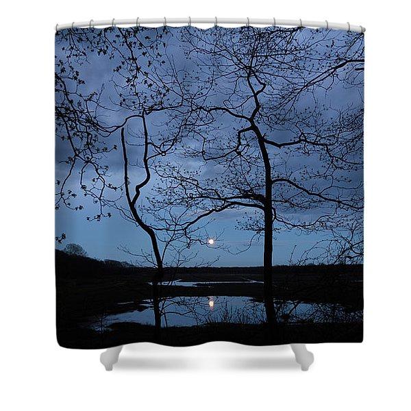 Barn Island Moonrise Shower Curtain