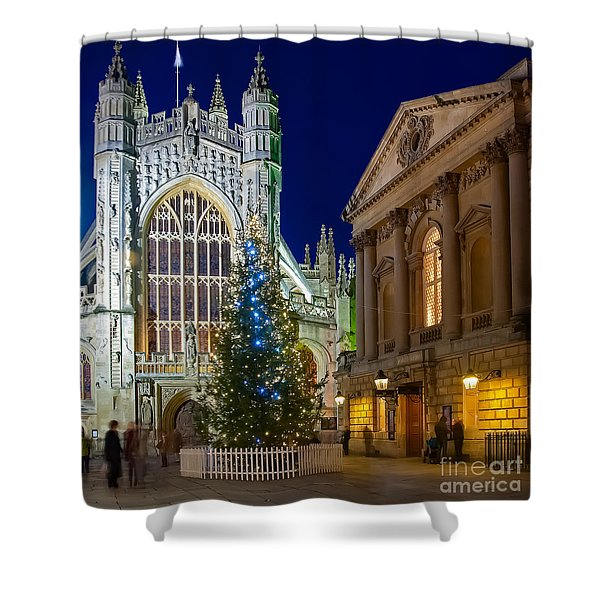 Bath Abbey At Night At Christmas Shower Curtain