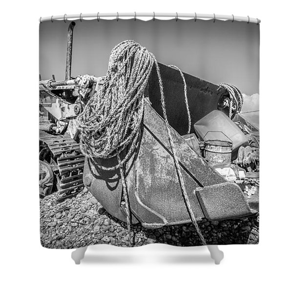 Beach Bulldozer. Shower Curtain