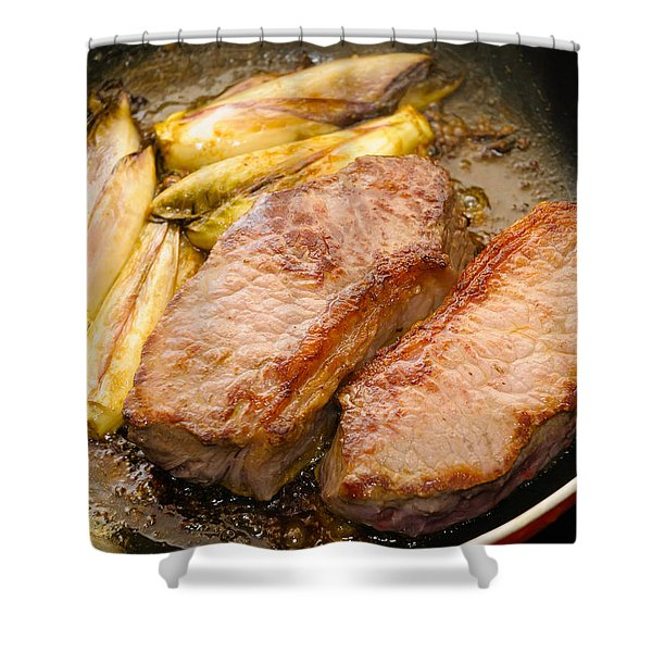 Beef Tenderloins With Endives Shower Curtain