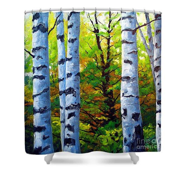 Birch Buddies Shower Curtain