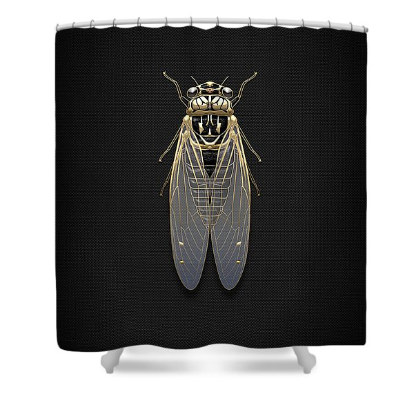 Black Cicada With Gold Accents On Black Canvas Shower Curtain