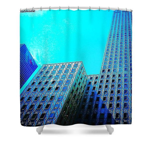 #blue #buildings And #bluesky On A Shower Curtain