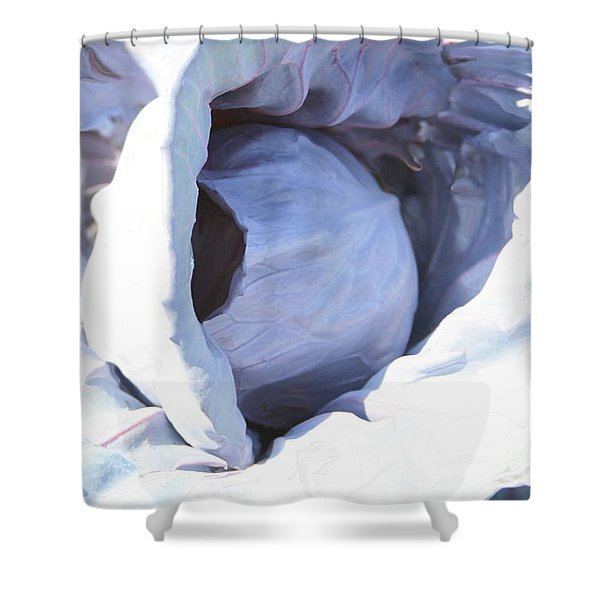 Blue Cabbage Shower Curtain