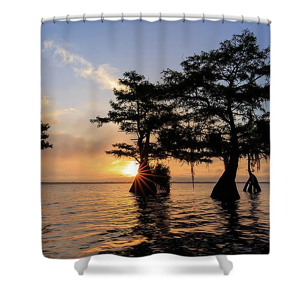 Blue Cypress Lake Morning Shower Curtain