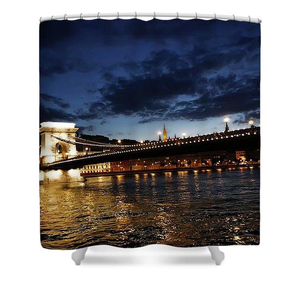 Blue Danube Sunset Budapest Shower Curtain