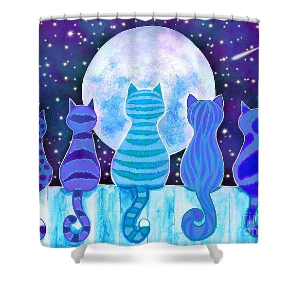 Blue Moon Cats Shower Curtain