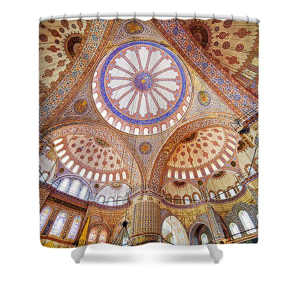 Blue Mosque Interior Shower Curtain