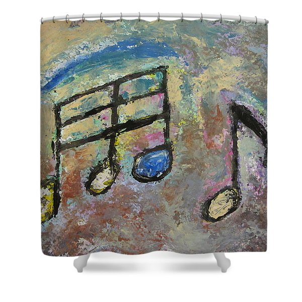 Shower Curtain featuring the painting Blue Note by Anita Burgermeister