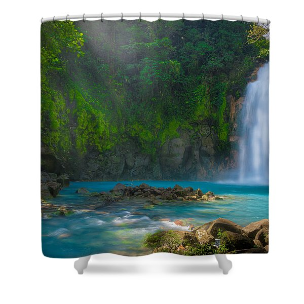 Blue Waterfall Shower Curtain