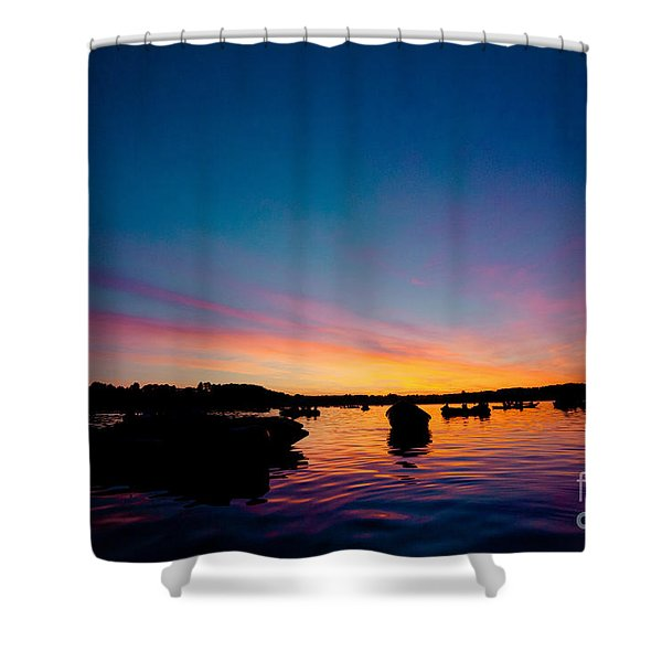 Shower Curtain featuring the photograph Boats And Sunrise Above Lake Water Summer Time Latvia Ezera Skanas by Raimond Klavins
