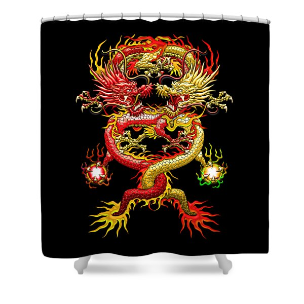 Brotherhood Of The Snake - The Red And The Yellow Dragons Shower Curtain