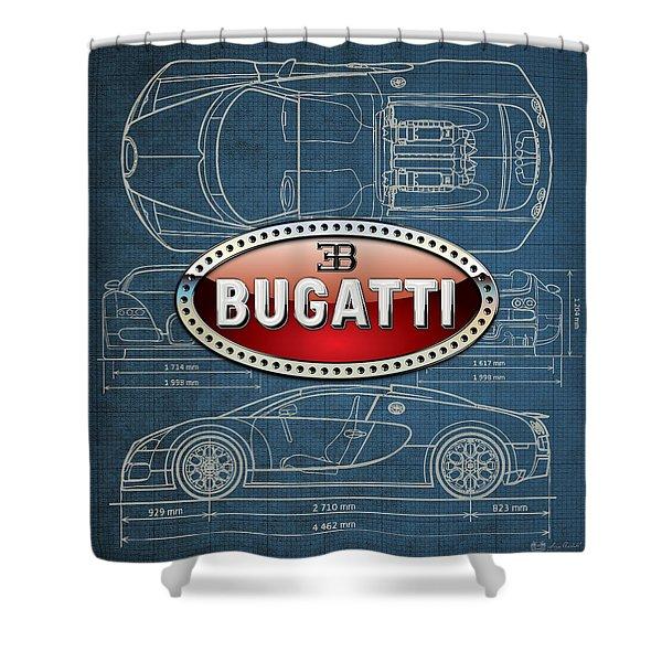 Bugatti 3 D Badge Over Bugatti Veyron Grand Sport Blueprint  Shower Curtain
