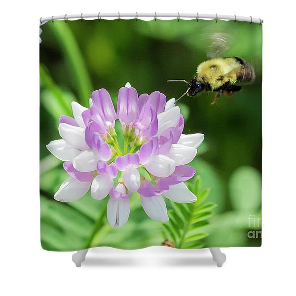Bumble Bee Pollinating A Flower Shower Curtain