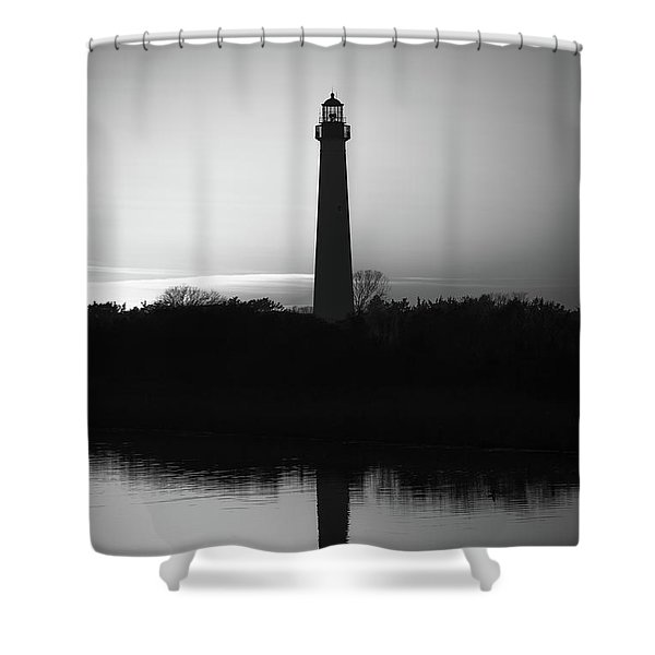Cape May Lighthouse Reflections Bw Shower Curtain