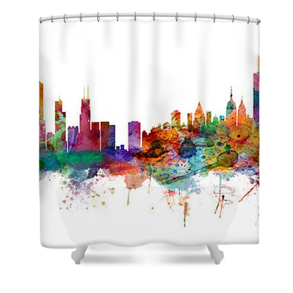 Chicago And New York City Skylines Mashup Shower Curtain