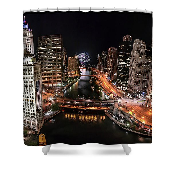 Chicago Night Live Shower Curtain