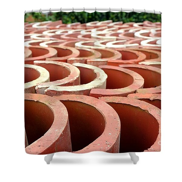 Chinese Traditional Roof Tiles Shower Curtain