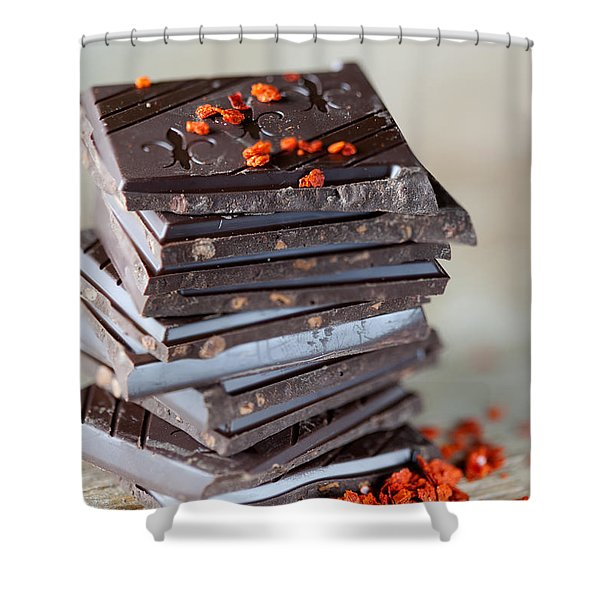 Chocolate And Chili Shower Curtain