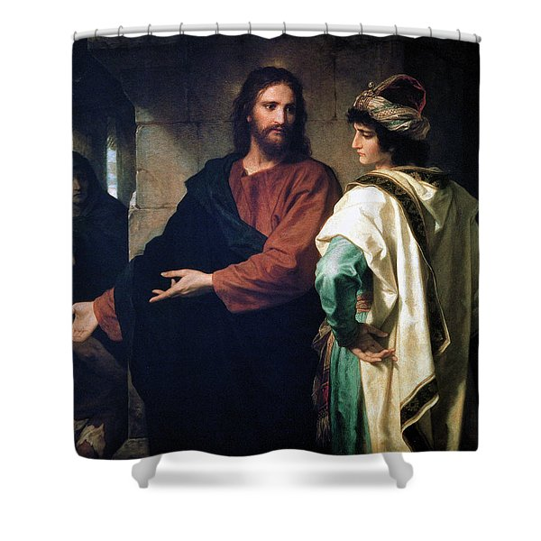 Christ And The Rich Young Ruler Shower Curtain