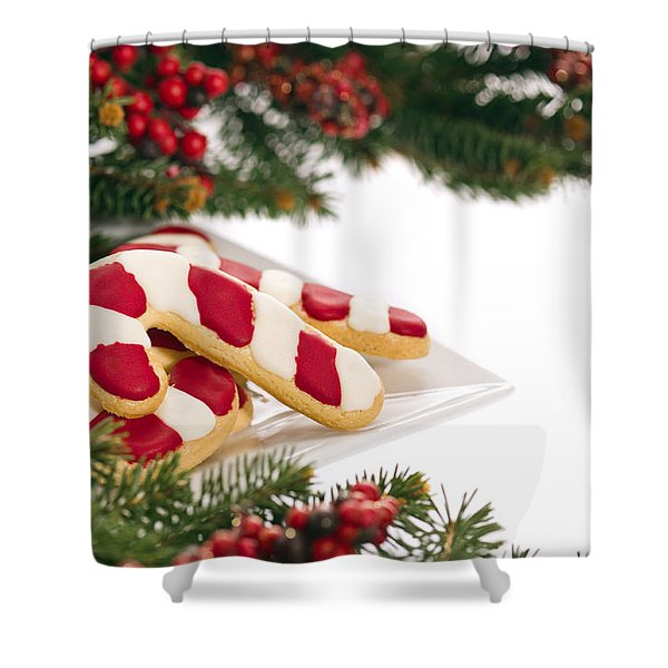 Christmas Cookies Decorated With Real Tree Branches Shower Curtain
