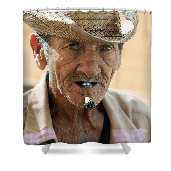 Cigar Smoking - Trinidad - Cuba Shower Curtain