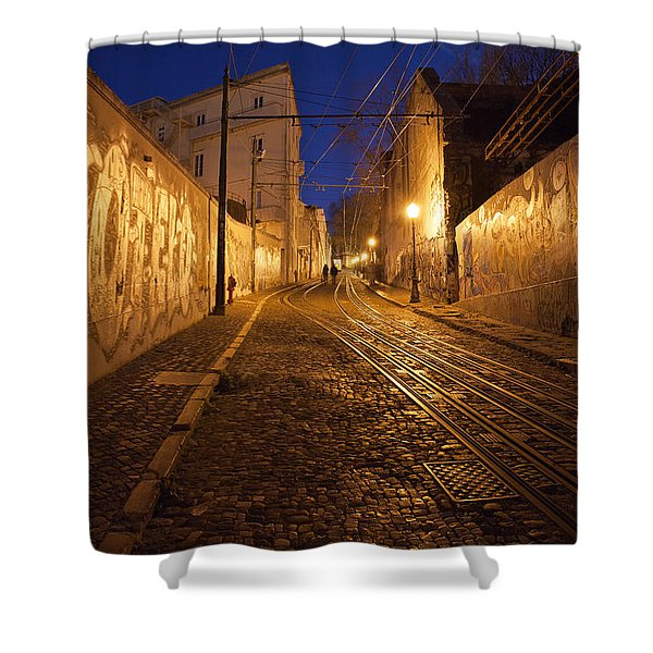 City Of Lisbon By Night In Portugal Shower Curtain