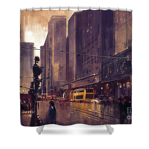 Shower Curtain featuring the painting City Street by Tithi Luadthong