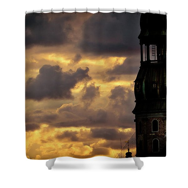 Shower Curtain featuring the photograph Cloudscape Of Orange Sunset Riga Latvia Artmif by Raimond Klavins