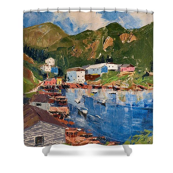 Coastal Village, Newfoundland Shower Curtain