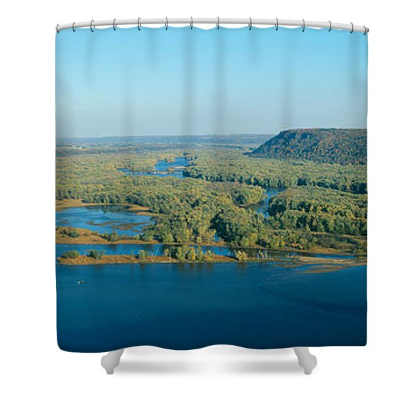 Confluence Of Mississippi And Wisconsin Shower Curtain