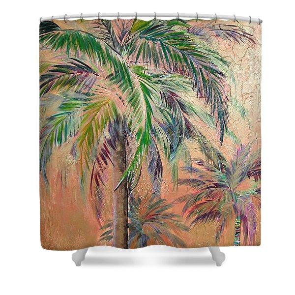 Copper Trio Of Palms Shower Curtain