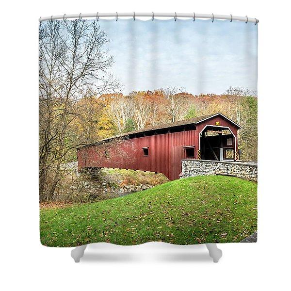 Covered Bridge In Pennsylvania During Autumn Shower Curtain