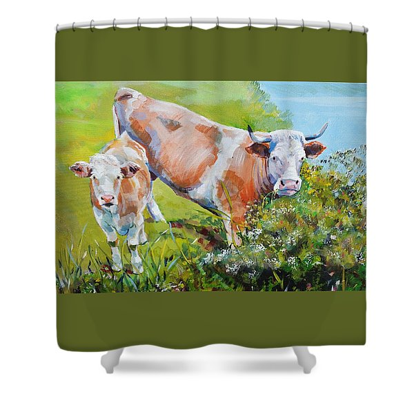 Cow And Calf Painting Shower Curtain