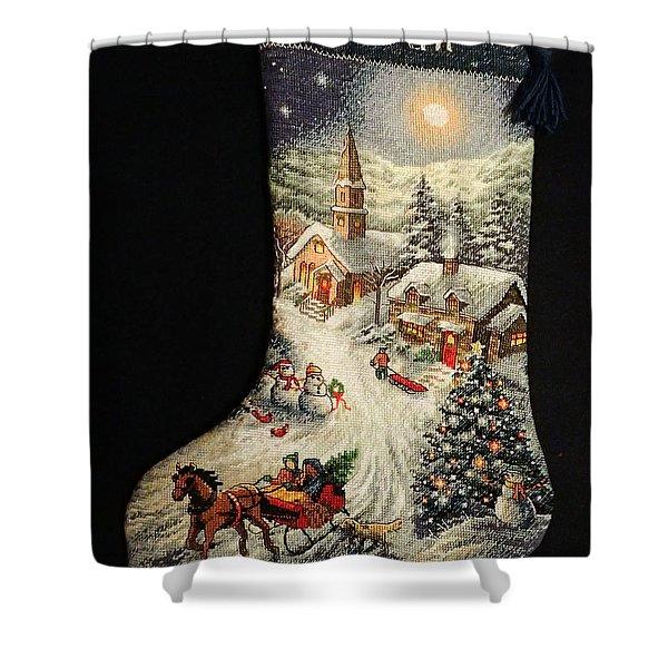 Cross-stitch Stocking Shower Curtain