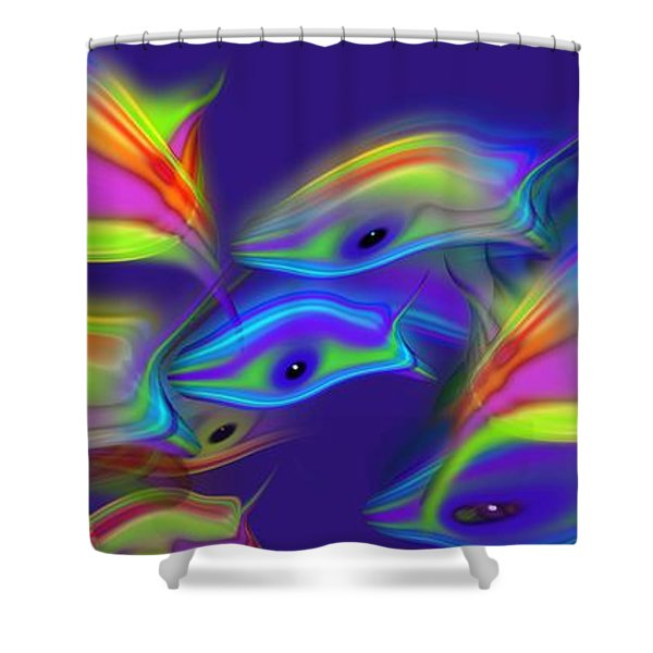 Deep Blue Marine Life Shower Curtain