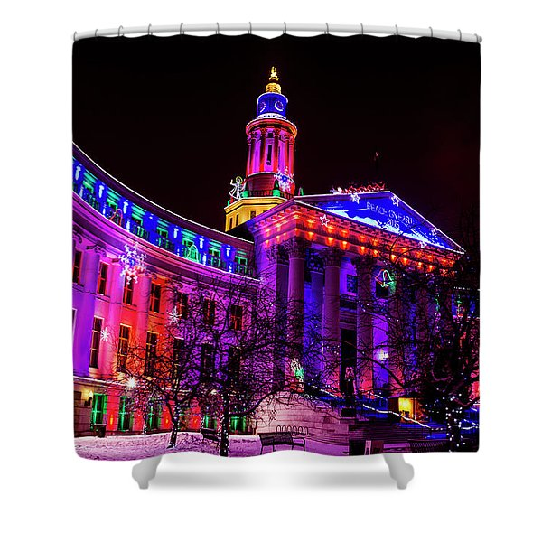 Denver City And County Building Holiday Lights Shower Curtain