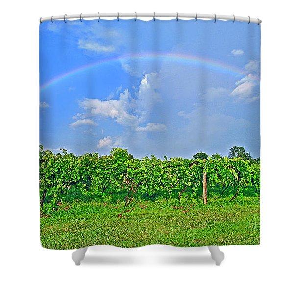 Double Rainbow Vineyard, Smith Mountain Lake Shower Curtain