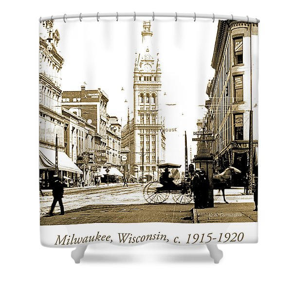 Downtown Milwaukee, C. 1915-1920, Vintage Photograph Shower Curtain