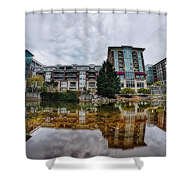 Shower Curtain featuring the photograph Downtown Of Greenville South Carolina Around Falls Park by Alex Grichenko