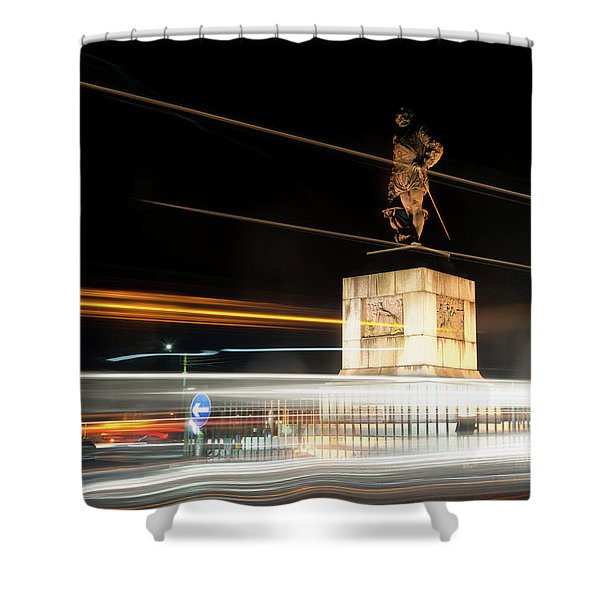 Drake's Statue Traffic Trails Iv Shower Curtain