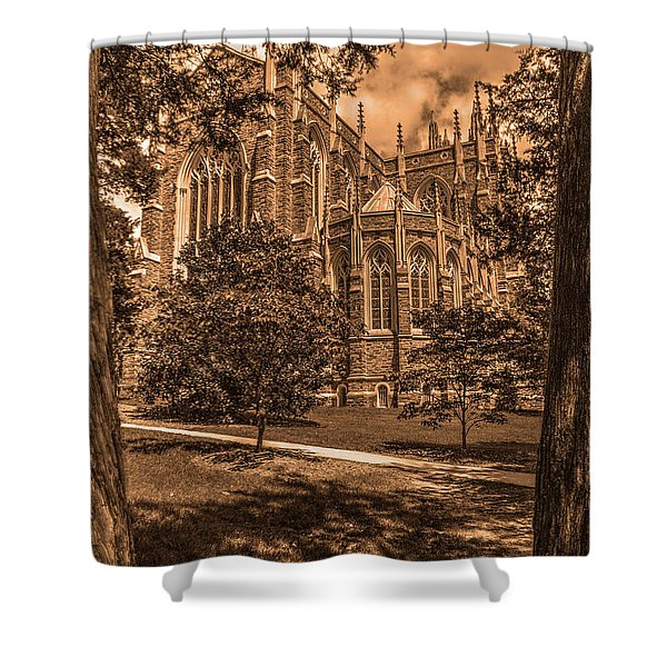 Duke Chapel Sepia Shower Curtain